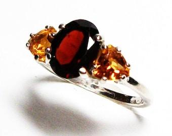 "Garnet citrine, garnet citrine ring,  3 stone ring, red orange, anniversary ring, s 6 3/4  ""Still Waters"""