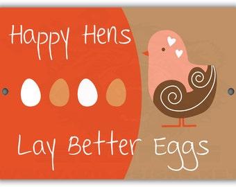 Happy Hens Lay Better Eggs Indoor/Outdoor Aluminum No Rust No Fade Sign