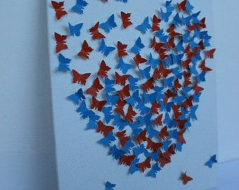 3D Butterfly Wall Art - Gators, UF, Orange and Blue