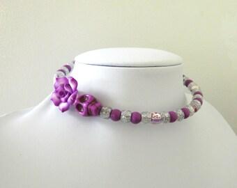 Day of the Dead Necklace Sugar Skull Choker Memory Wire Rose Purple White