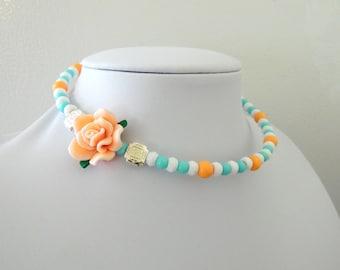 Day of the Dead Necklace Choker Rose White Peach Orange Blue Silver Concho
