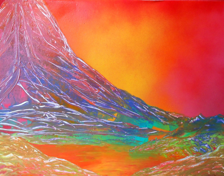 Spray Paint Art Original Abstract Sunset Mountain Landscape