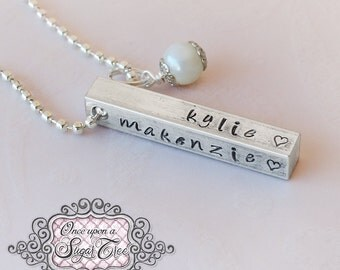 Bar Necklace, Personalized Four Sided HAND STAMPED Necklace, 4 Side Bar Necklace, Mother's Day Gift, Mom Necklace, Custom Name Necklace