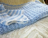 car seat or stroller blanket plus matching hat in a beautiful soft baby blue