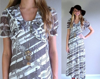 vtg 60s GIRAFFE PRINT safari Maxi DRESS xs/s brown striped op art lace empire ethnic boho hippie mod
