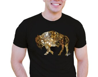 Men's T-shirt Steampunk Buffalo Alison Kurek rust belt bison steel plant black gold mosaic gears