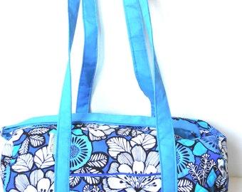 Quilted Blue Bayou Vera Bradley Fabric Quilted Weekender Bag