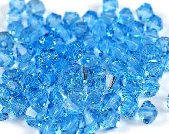 4mm Swarovski Aquamarine Blue Crystal Bicone  Xilion ( 5328 ) Qty 24
