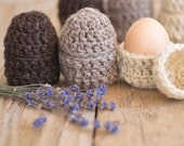 Natural Eco Friendly Egg Cups, Set of 6 Egg Cozies, Egg Warmers, Eco friendly Easter, Easter Eggs