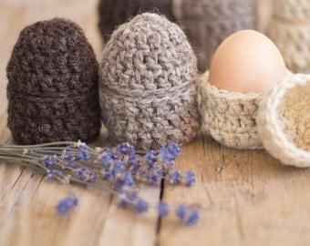 Natural Eco Friendly Egg Cups, Set of 6 Egg Cozies, Egg Warmers, Eco friendly Easter, Easter Eggs