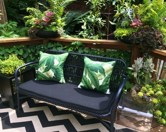 Pillow Cover in Swaying Palms Indoor Outdoor Fabric with Piping