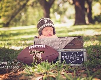 Football Hat / Crochet Football Beanie/ Flapper Hat/ Complimentary Shipping