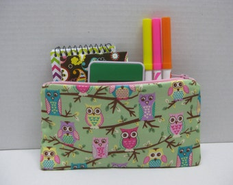 Owls Zipper Pencil Case (.Pink And Green)