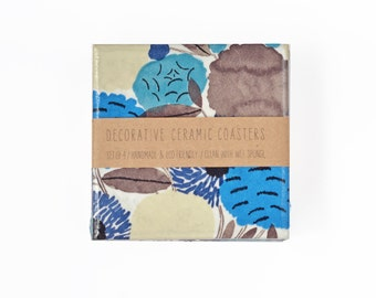 Drink Coasters Ceramic Marimekko Pattern Blue Brown Watercolor Abstract Flowers Tile Drink Coasters Botanical Modern Mother's Day Gift