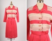 1940s dress/ 40s cotton dress/ small-medium