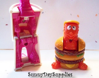 Vintage McDonald's Happy Meal Toys, Dinosaurs - Changeables  Transformers -  Big Mac and Soft Drink - 2 in Lot - 1989 ~ food toys