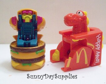 McDonald's Happy Meal Toys, Changeables, Big MAC, Vintage Happy Meal Toys,  Red box with dinosaur, Dinosaur and Robot,  2 in Lot,  Food Toys