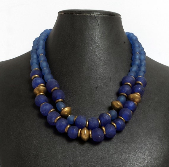 Bead Glass African Beads: Items Similar To Blue Recycled Glass Bead Necklace