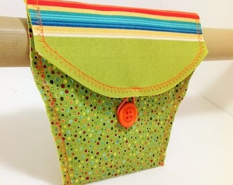 Bicycle Bag with Green Mini Polka Dot and Stripe Flap