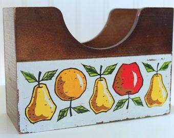 Vintage Midcentury Fruit Print Woodcrest by Styson Wood Napkin Holder Recipe Organizer