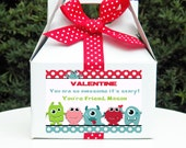 Personalized Monster Valentine Tags, Treat Tags, Favor Tags Printable - ANY Wording