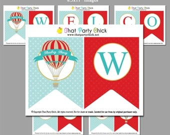 """50% OFF SALE - Hot Air Balloon Baby Shower Banner Printable - """"Welcome Baby"""" Banner - Vintage Hot Air Balloon Collection"""
