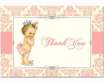 Vintage Baby  Thank You Note Printable - Instant Download - Sweet Princess Collection