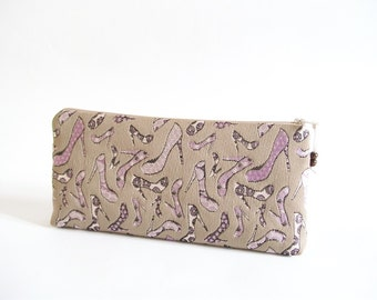 Lilac Cosmetic Clutch, Wedding Bridal Purse, Women Wallet, Gift for Her, Lilac Heels on Clutch, Ready to Ship