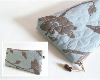 Rustic Aqua Clutch, Bridal Clutch, Bridesmaid Bag, Blue Floral Purse, Minimalist Clutch