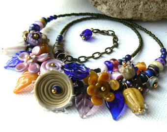 Handmade Flower and Leaf Lampwork Necklace,Cluster Lampwork Bead Necklace,Lapis and Antique Bronze Necklace,OOAK