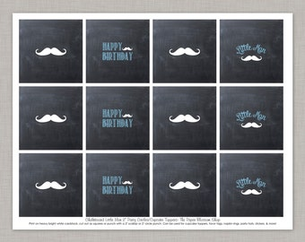 50% OFF Little Man Cupcake Toppers, Mustache Bash Cupcake Toppers, Printable