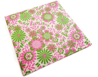 Vintage Wrapping Paper - Flower Power Birthday Gift Wrap - One Full Sheet