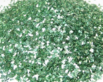 glass glitter green chunky bling DIY embellishment 1 ounce weight /  2 tbsp volume craft projects scrapbooking decoden recollections brand