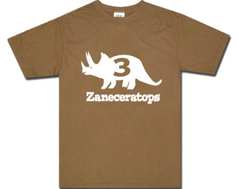 triceratops dinosaur birthday shirt - any age and name - pick your colors!