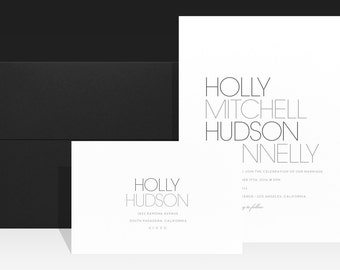Minimalist Wedding Invitation - Modern Chic Wedding Invitations - Simple Black and White Wedding Invite - Urban Typography Beautiful - Holly