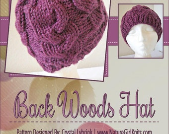 KNITTING PATTERN, Back Woods Hat, PDF Digital File, Written and Charted Instuctions, Instant Download