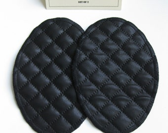 Elbow Patches - Faux Leather Black Diamond Quilt  - Set of 2