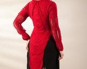 Red jacket, tail jacket, bolero style jacket, knit and crochet jacket, cropped jacket,