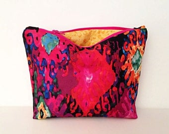 Multicolored zipper bag, a cosmetic case, makeup bag, small zipper pouch clutch, Mother's Day Gift
