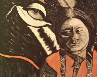 Acrylic painting of Sitting Bull on 16x20 canvas