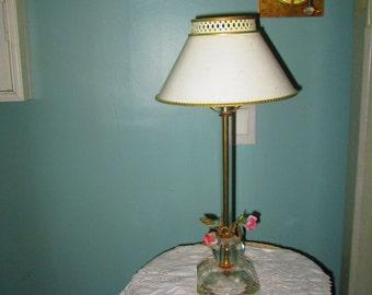 Vintage Crystal Tole Floral Lamp / 60s Bedroom Lamp