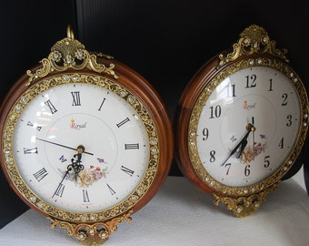 CK0255 Vintage Double Sided Clock Royal made in Korea Unique 44 Rhinestones