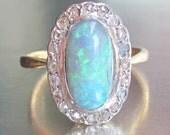 Antique 1 Carat Black Opal and Diamond Halo Ring 18K