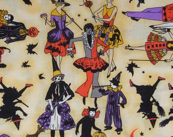 Halloween Fabric / Halloween Masquerade / Witches and Jack O Lanterns