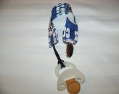 Fabric Pacifier Clip, Universal Pacifier Clip, Paci Clip, Binky Clip, Indianapolis Colts, Blue and White, You Can Choose Your Team