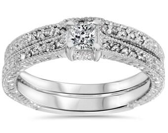 Princess Cut .70CT Diamond Vintage Engagement Hand Engraved Matching Wedding Ring Band Bridal Set 14K White Gold Size 4-9