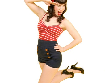 READY TO SHIP Kiss Me Sailor, nautical style tank top
