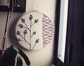 Contemporary Minimalist Embroidery by Project Sarafan. Wall Hanging. Textile art in Embroidery Hoop.