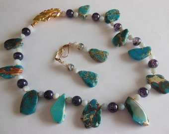 Sea sediments on Agate set earrings and Necklace  S 691