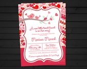 Valentines Baby Shower - Sweet Heart Invitation - Valentines Invitation - Hearts - Tweet Heart - Bird Baby Shower - Printable Invitation